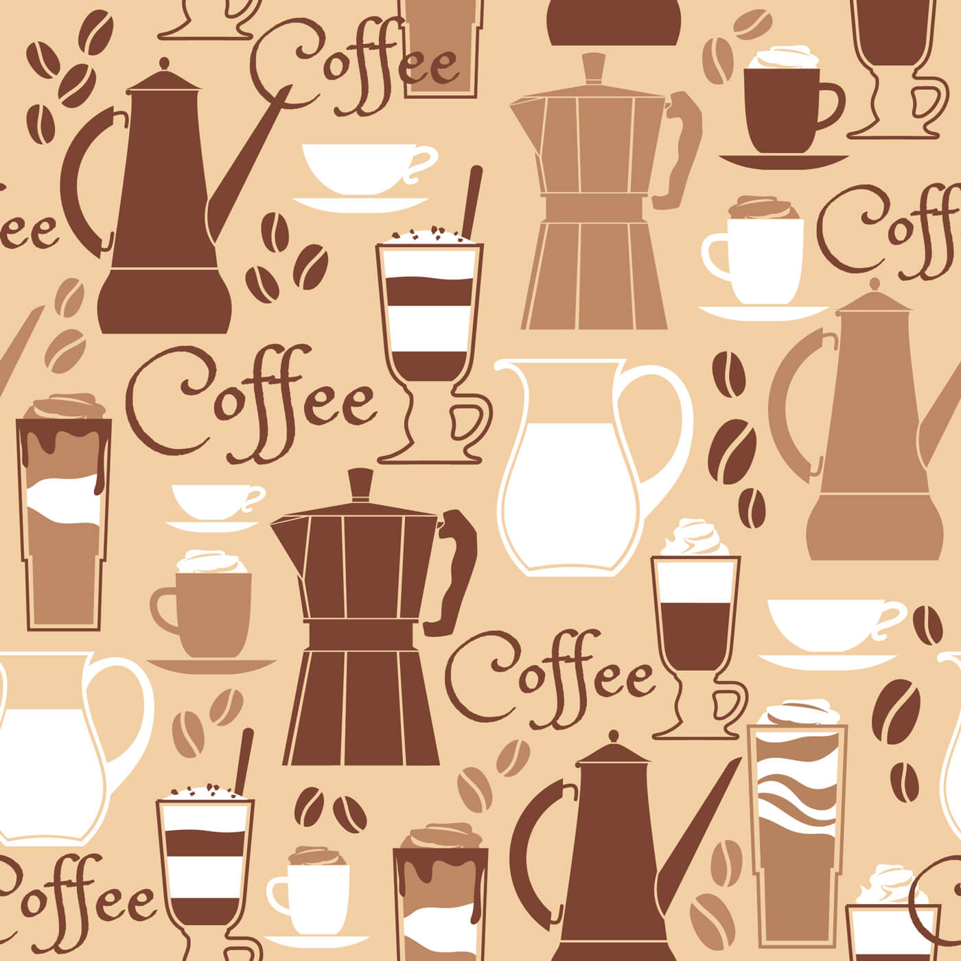 "Free vector ""Vector illustration of coffee design elements. Seamless pattern"""