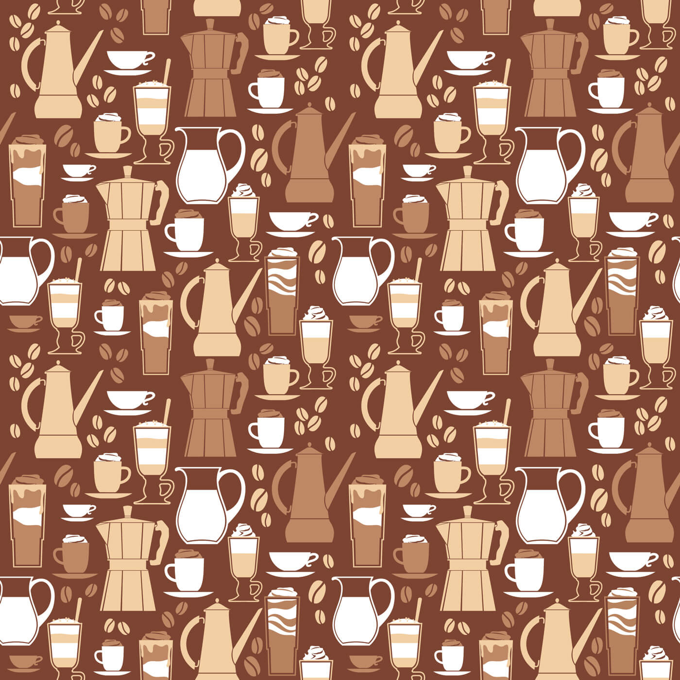 """Free vector """"Vector illustration of coffee design elements. Seamless pattern"""""""