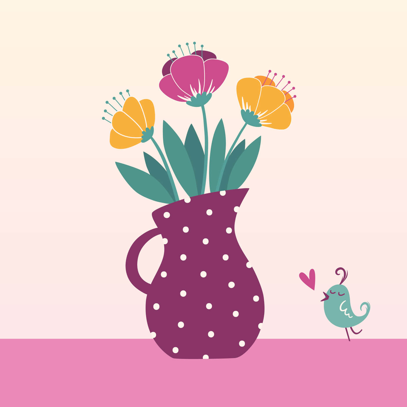 "Free vector ""Vector illustration of jug with flowers"""