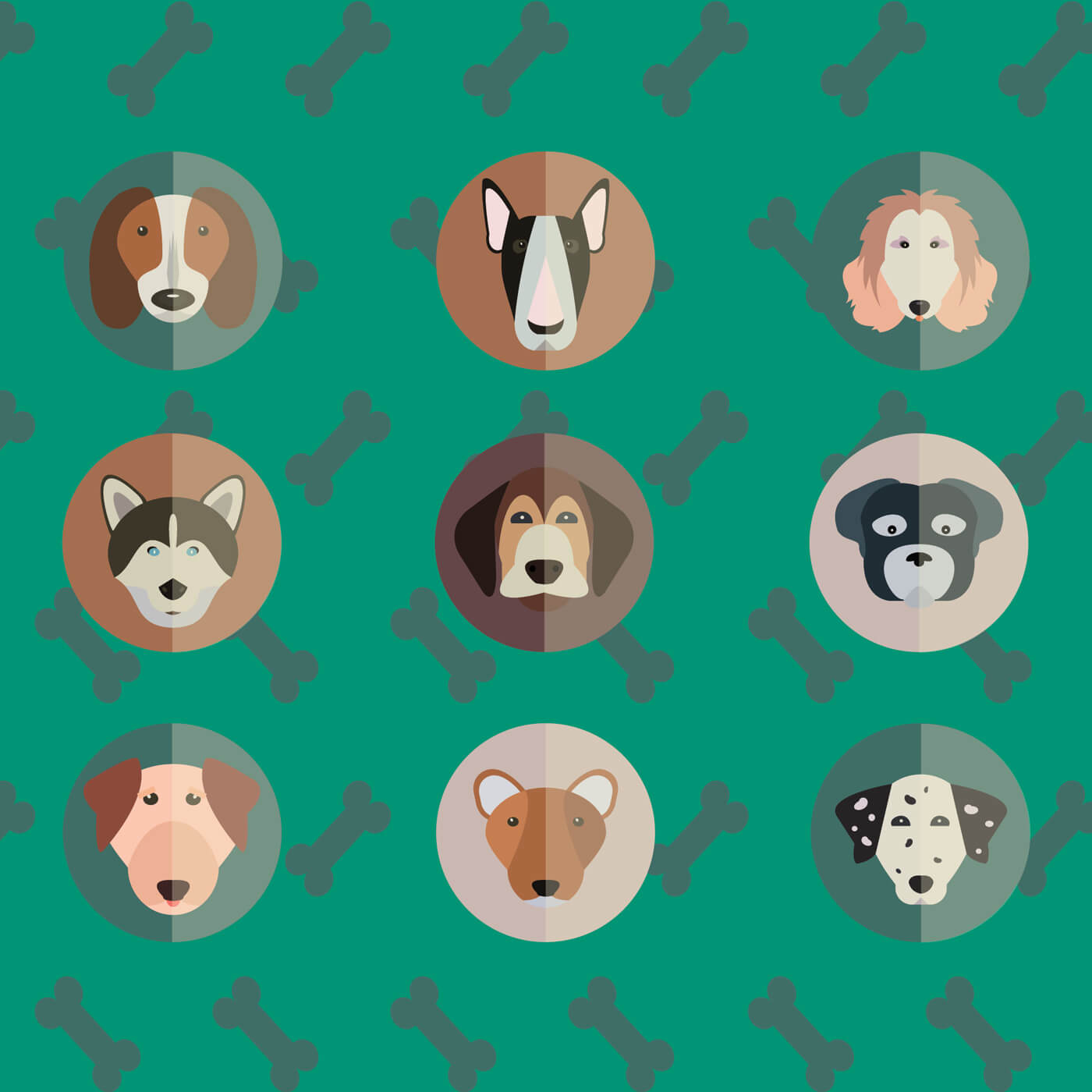 "Free vector ""Vector illustration of cute dogs head set for free vector design"""