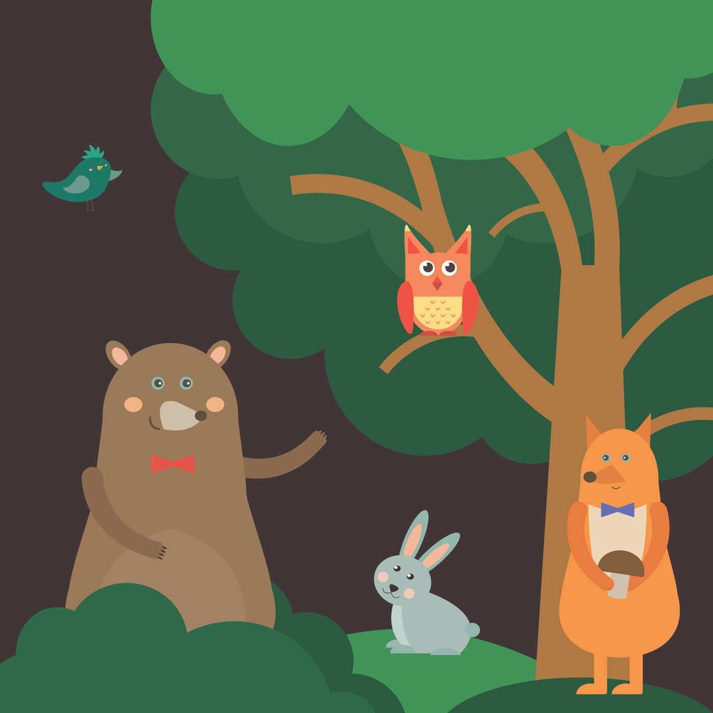 "Free vector ""Vector illustration of cute animal at night forest for free vector design"""