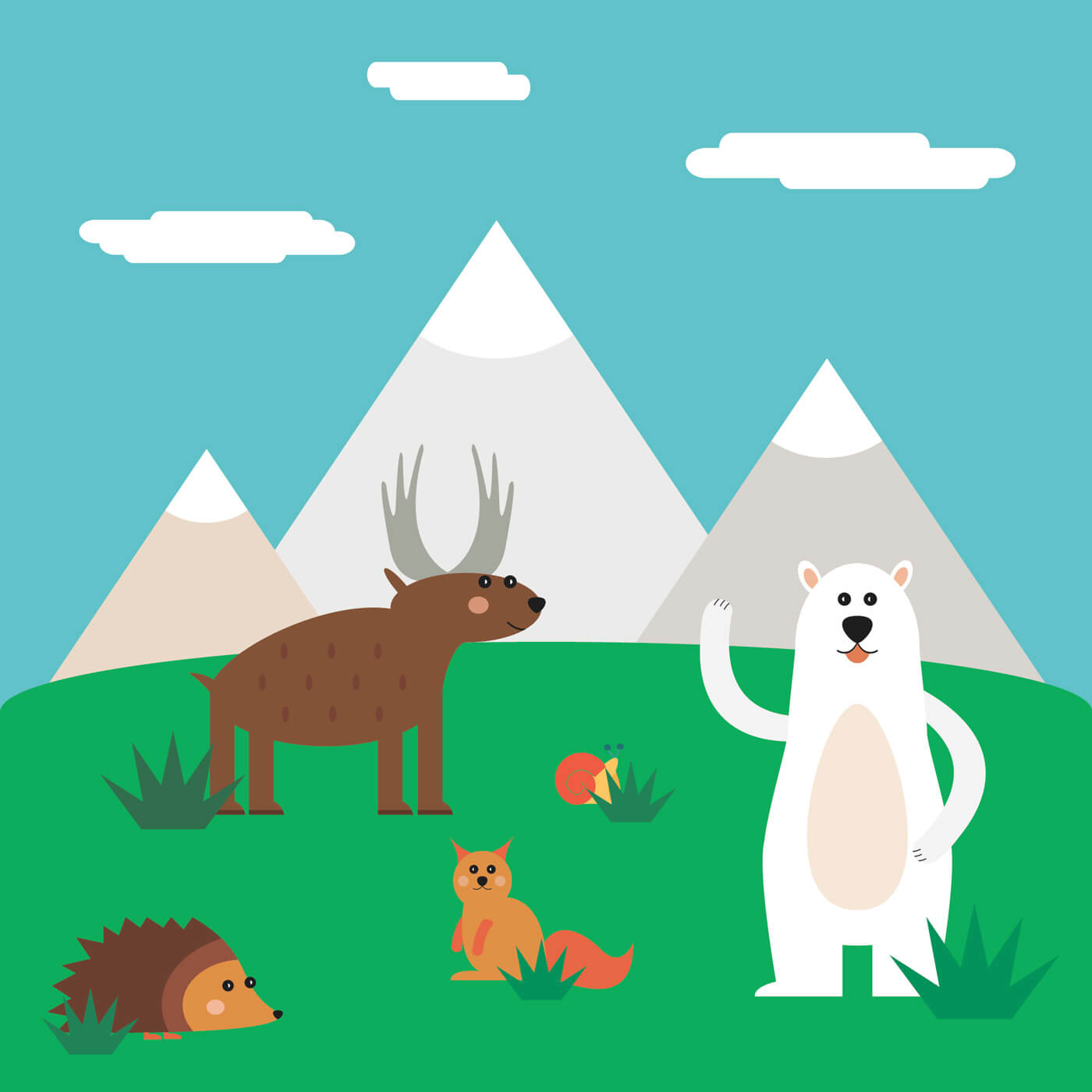 """Free vector """"Vector illustration of cute north animal set for free vector design"""""""