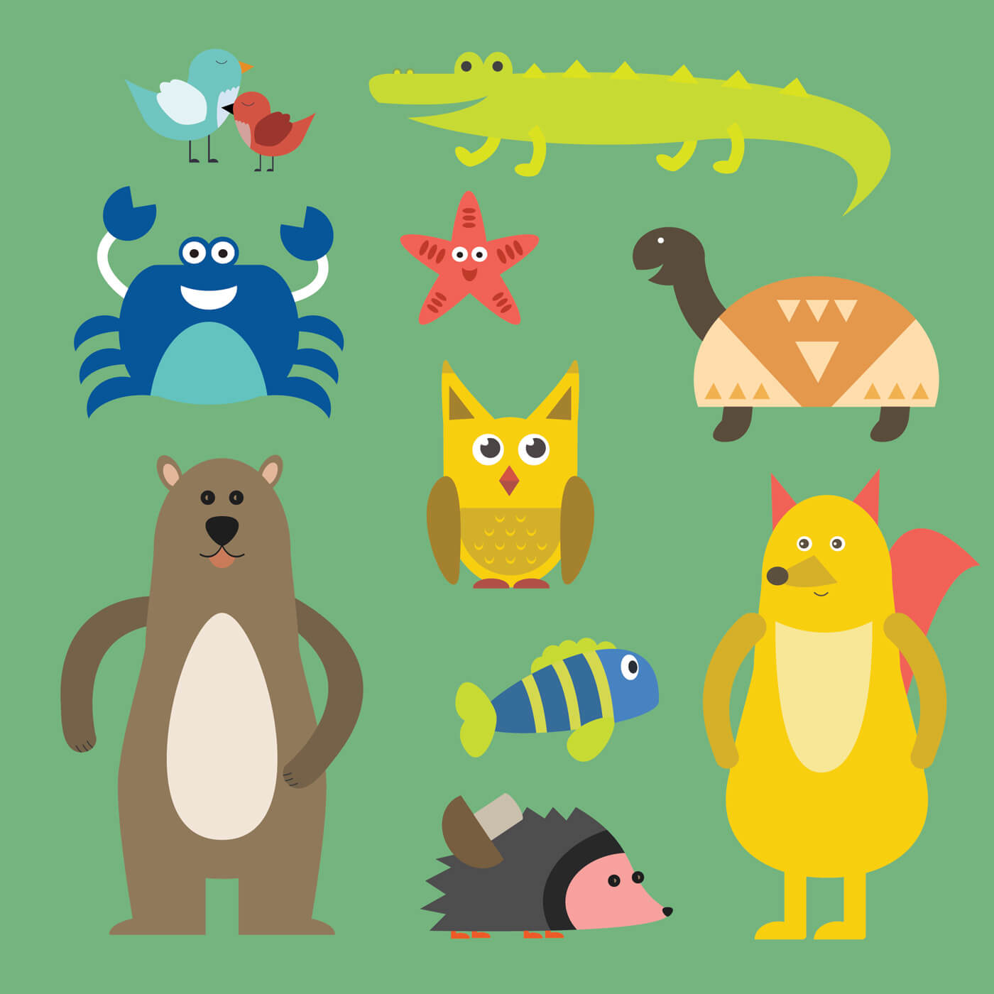 "Free vector ""Vector illustration of cute animal set for free vector design"""