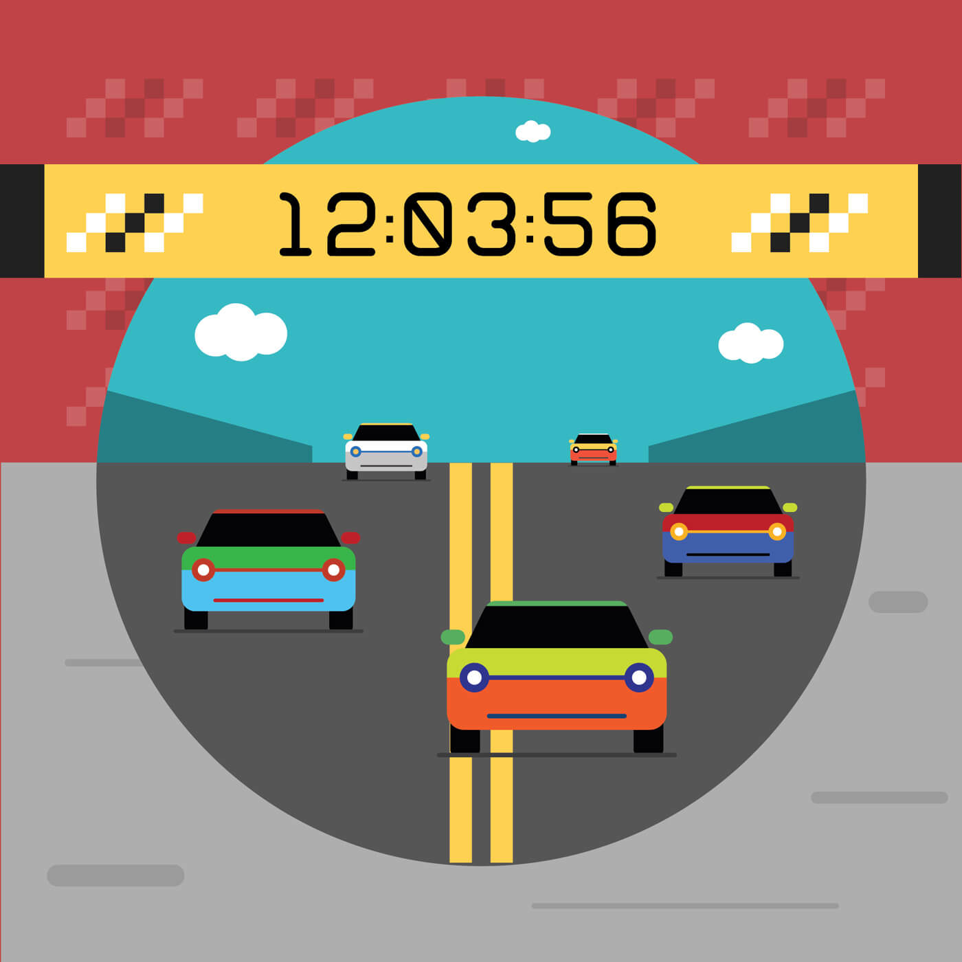"Free vector ""Sport cars on road. Vector illustration of race"""