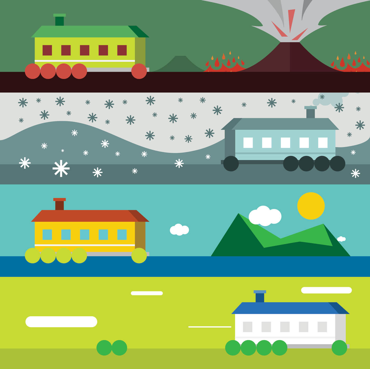 "Free vector ""Vector illustration of some landscape with house and weather"""