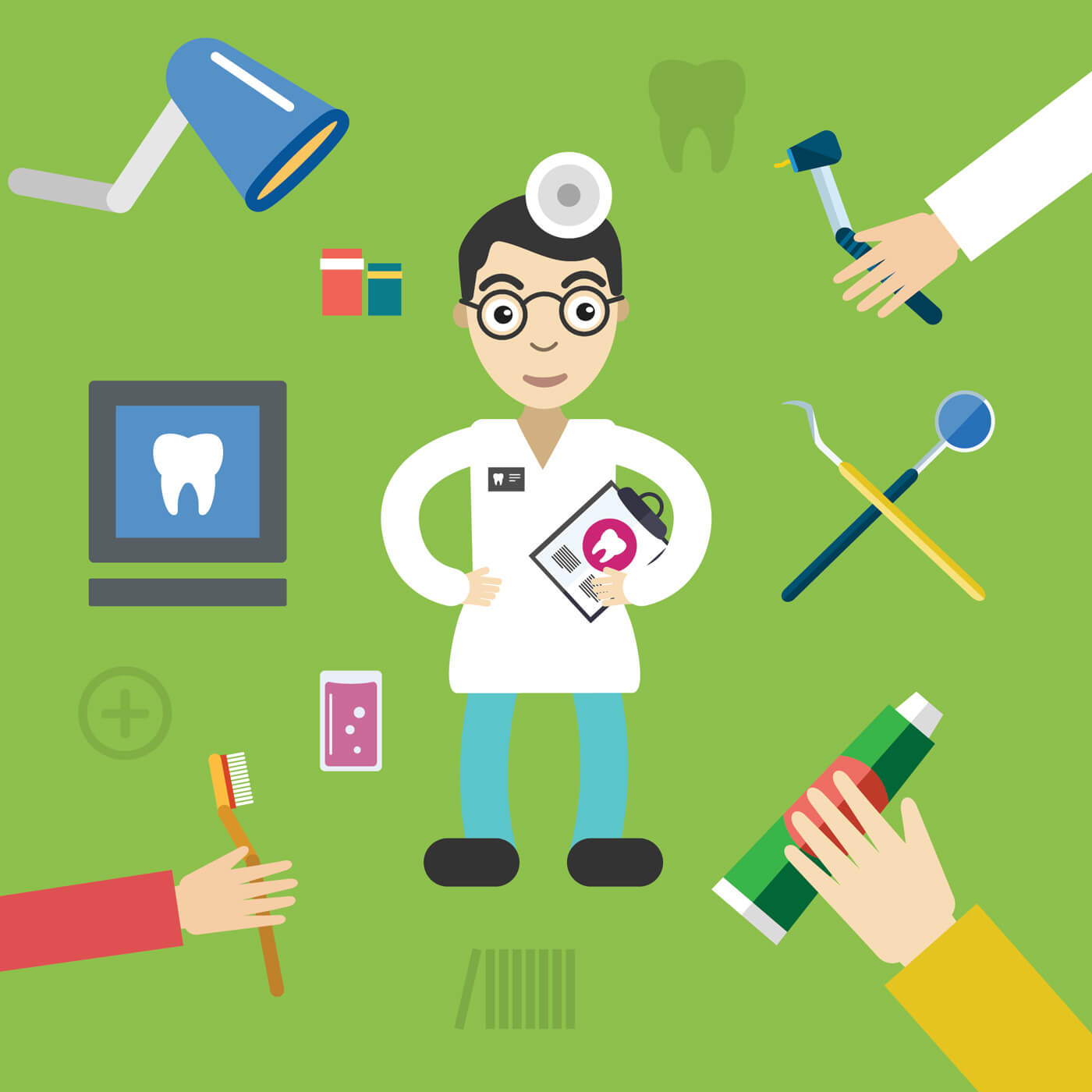"Free vector ""Dentist character with tools free vector illustration"""
