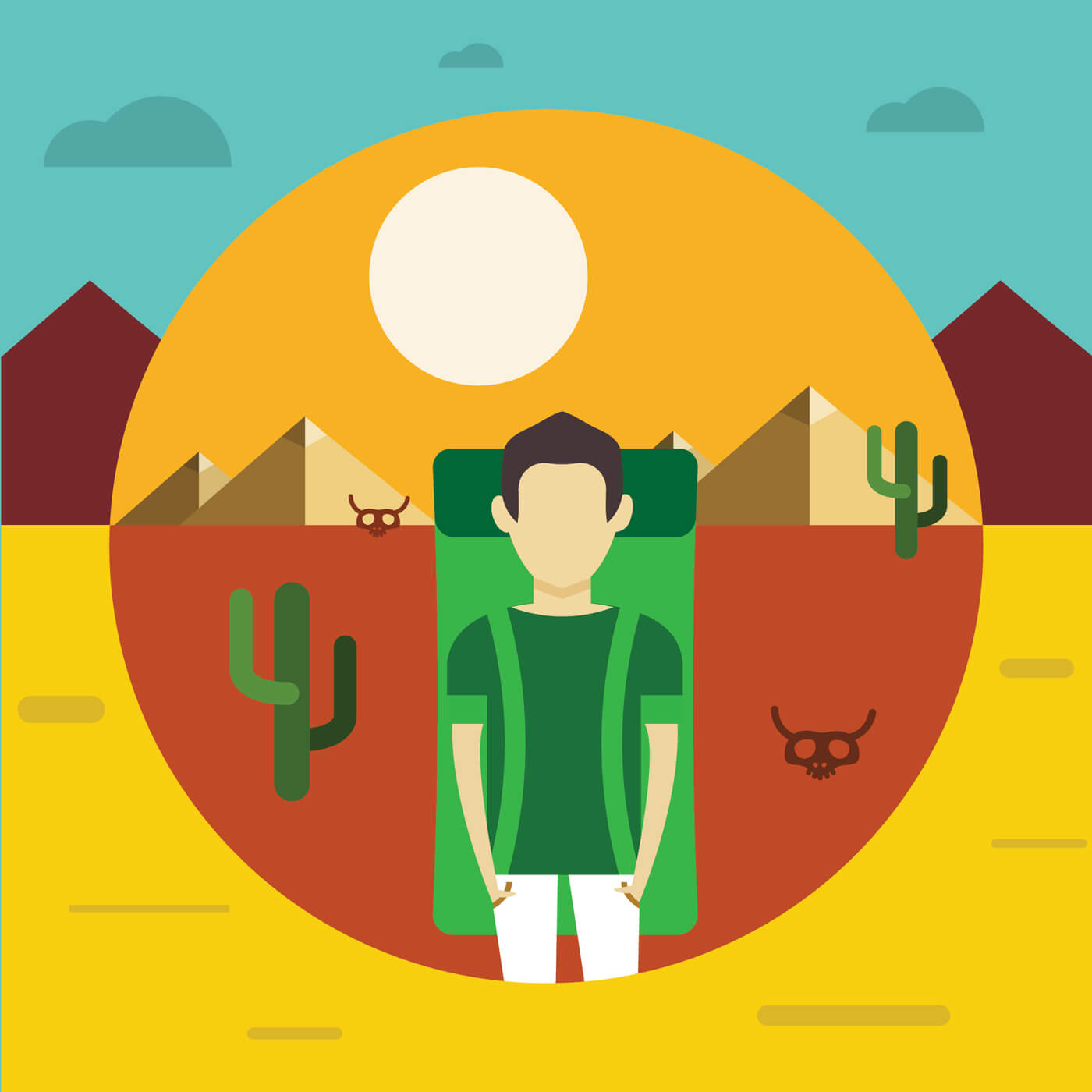 "Free vector ""Free vector illustration with some man - travel"""
