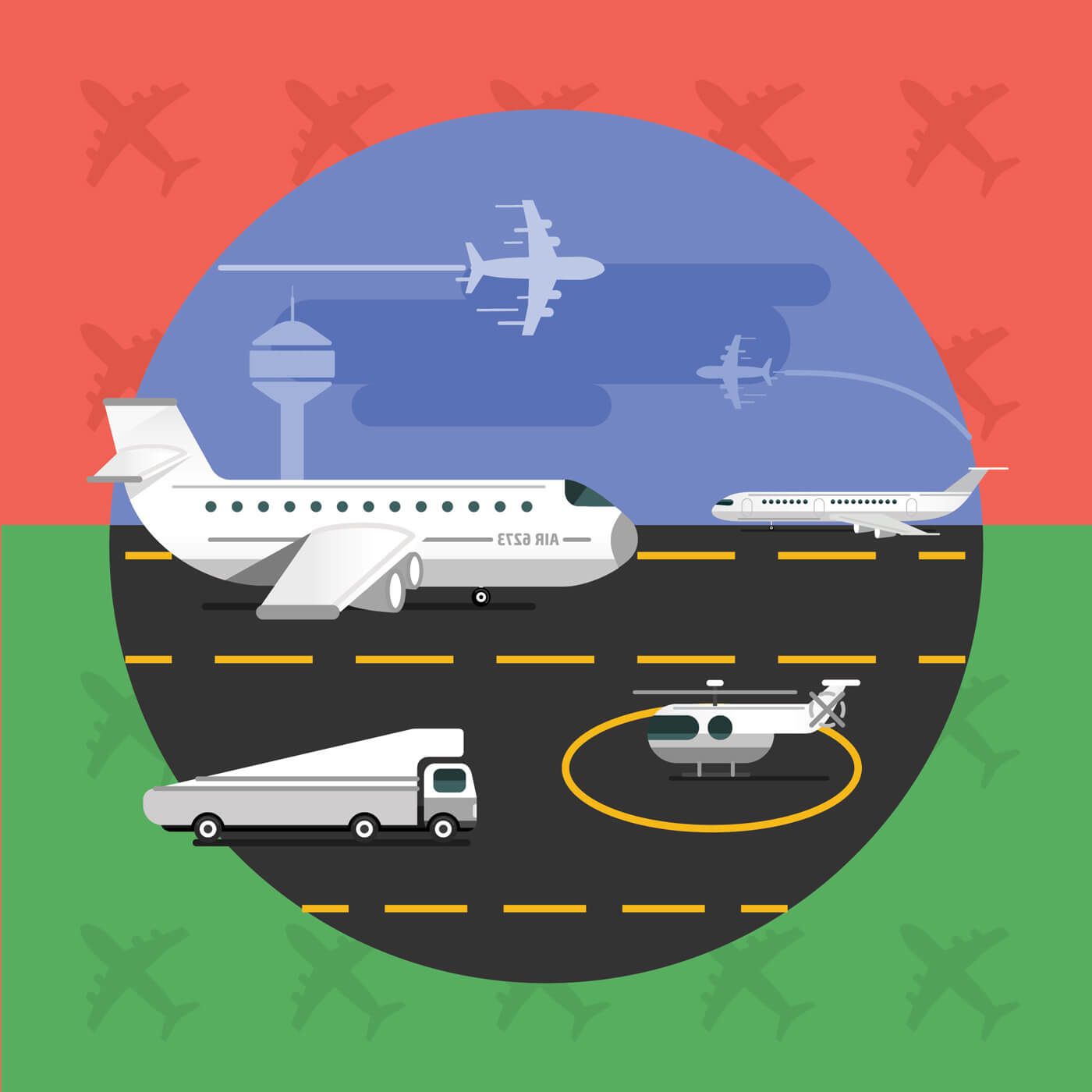 "Free vector ""Free vector illustration of airport with planes - travel"""