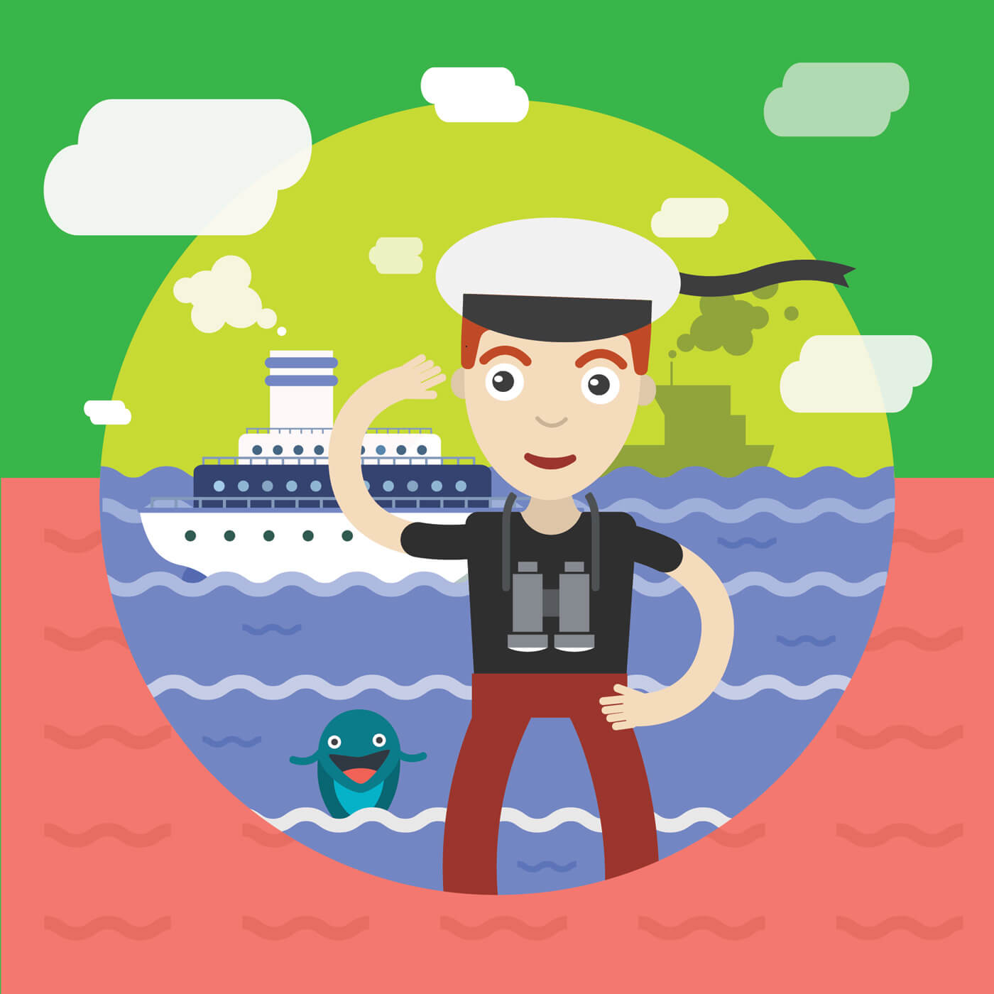 "Free vector ""Free vector illustration of sailor and some ship and landscape"""