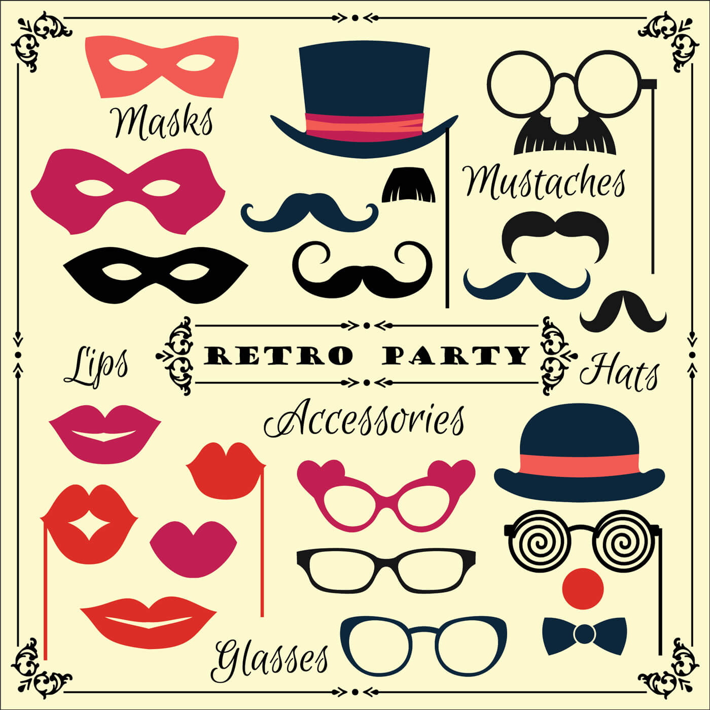 "Free vector "" Accessories for fun retro party. Vector illustration"""