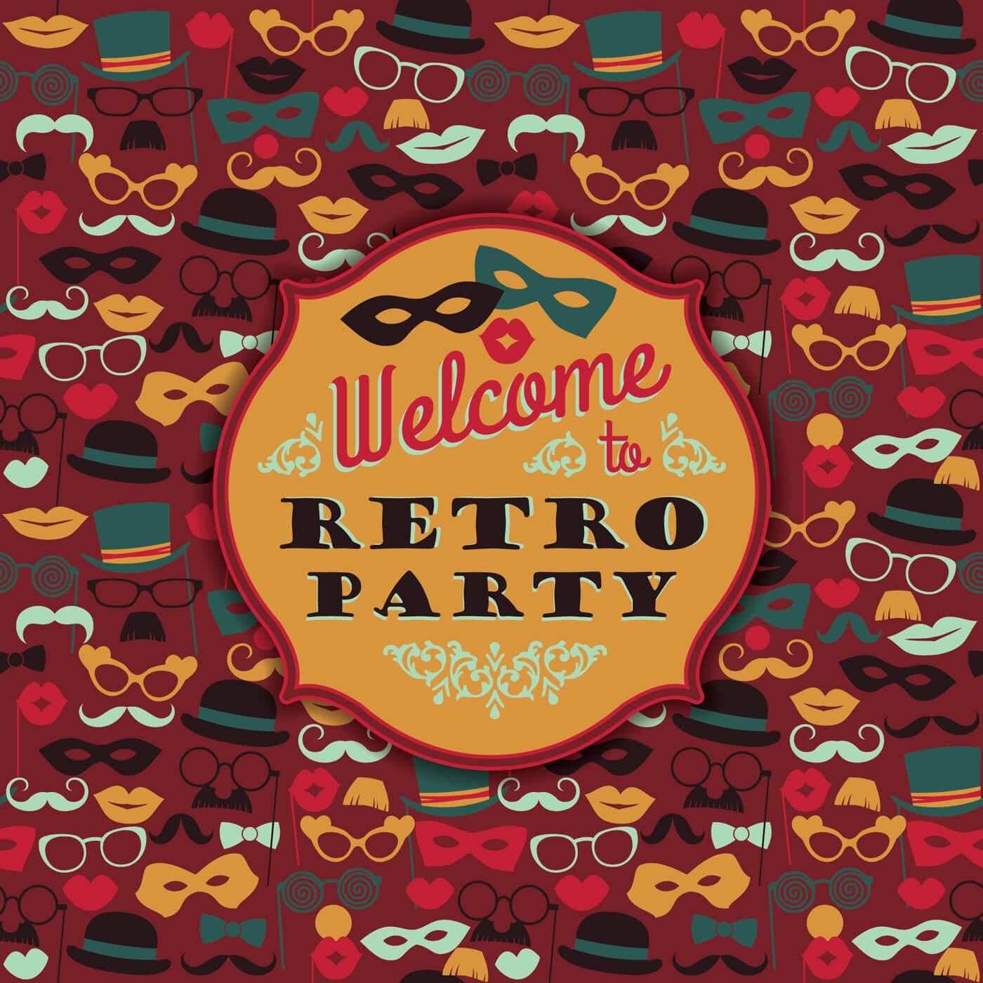 "Free vector ""Invitation to fun retro party. Vector illustration."""