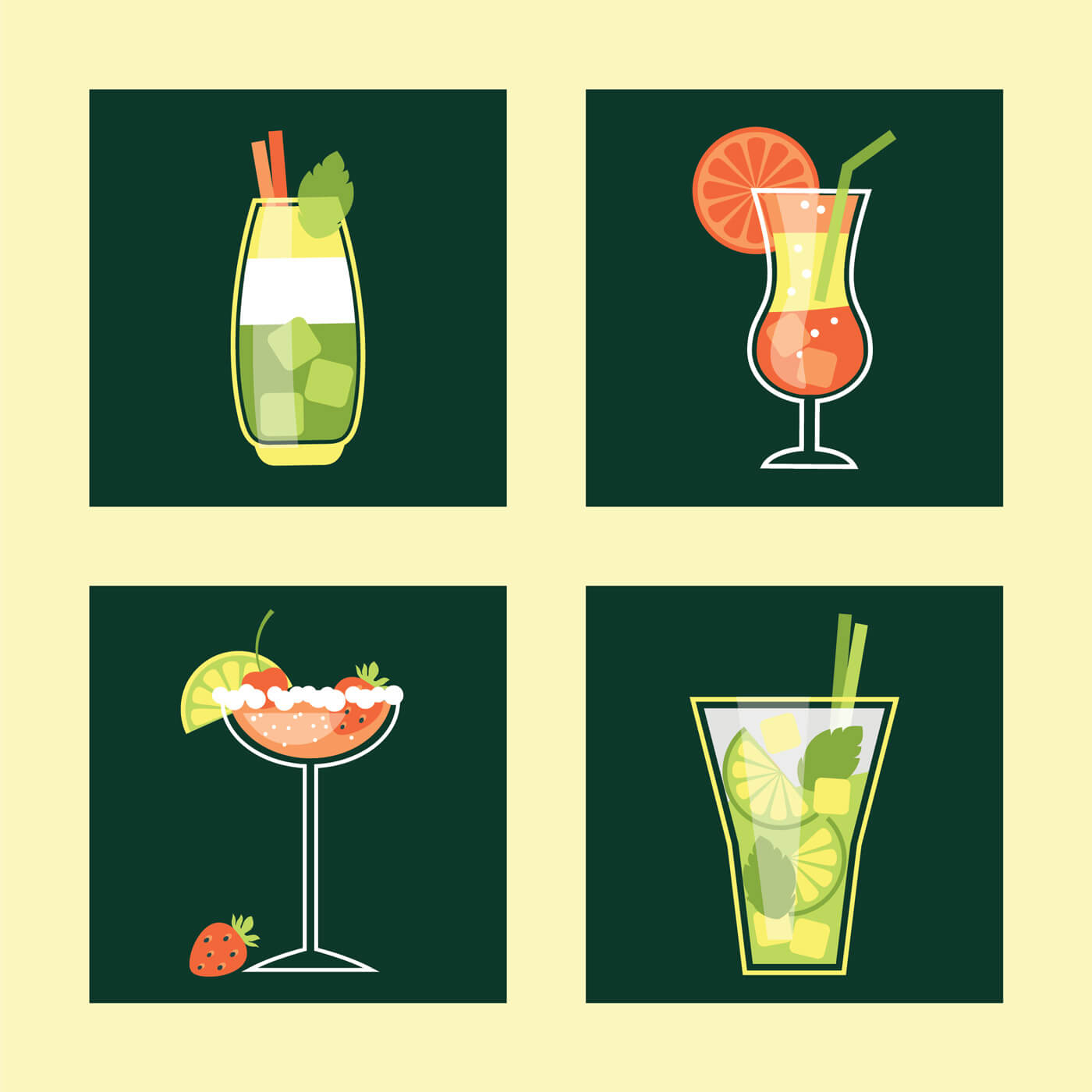 "Free vector ""Cocktail Icon Set. Vector illustration"""