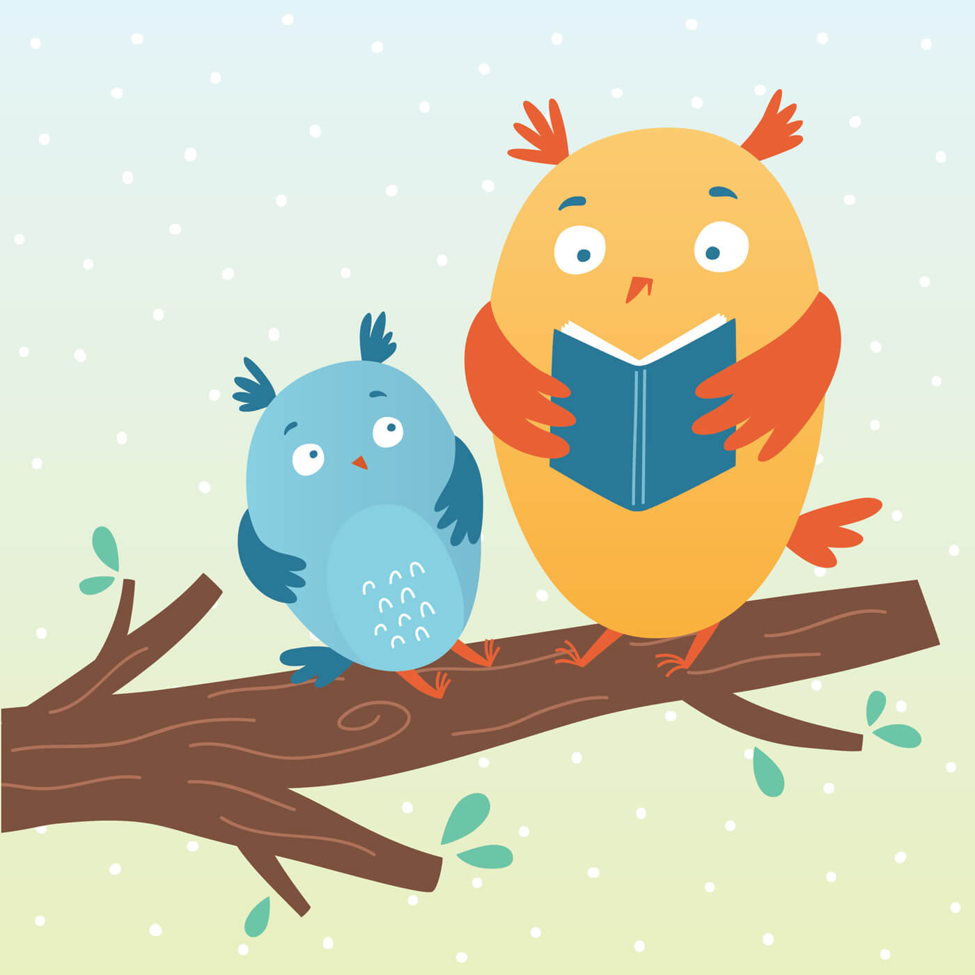 """Free vector """"Vector illustration of cute owls reading a book"""""""