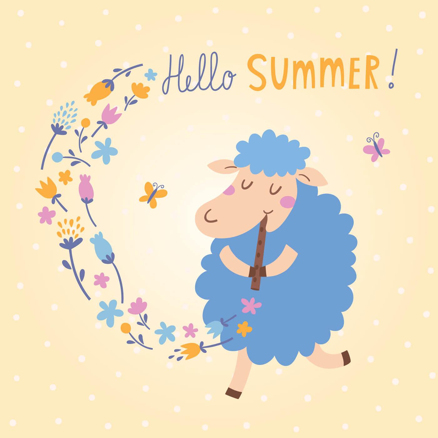 "Free vector ""Vector illustration of cute sheep. Hello Summer!"""