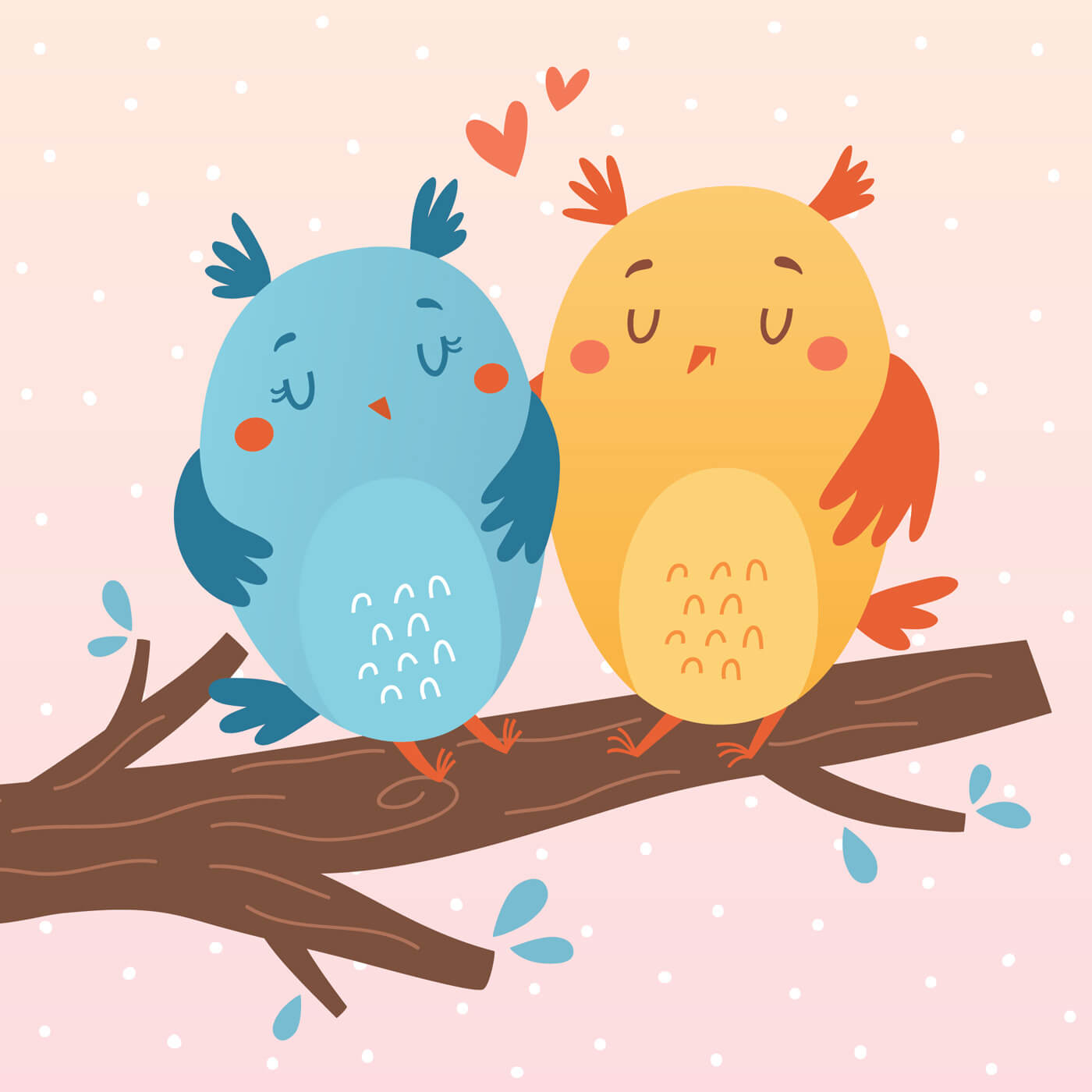 """Free vector """"Vector illustration of owls in love"""""""