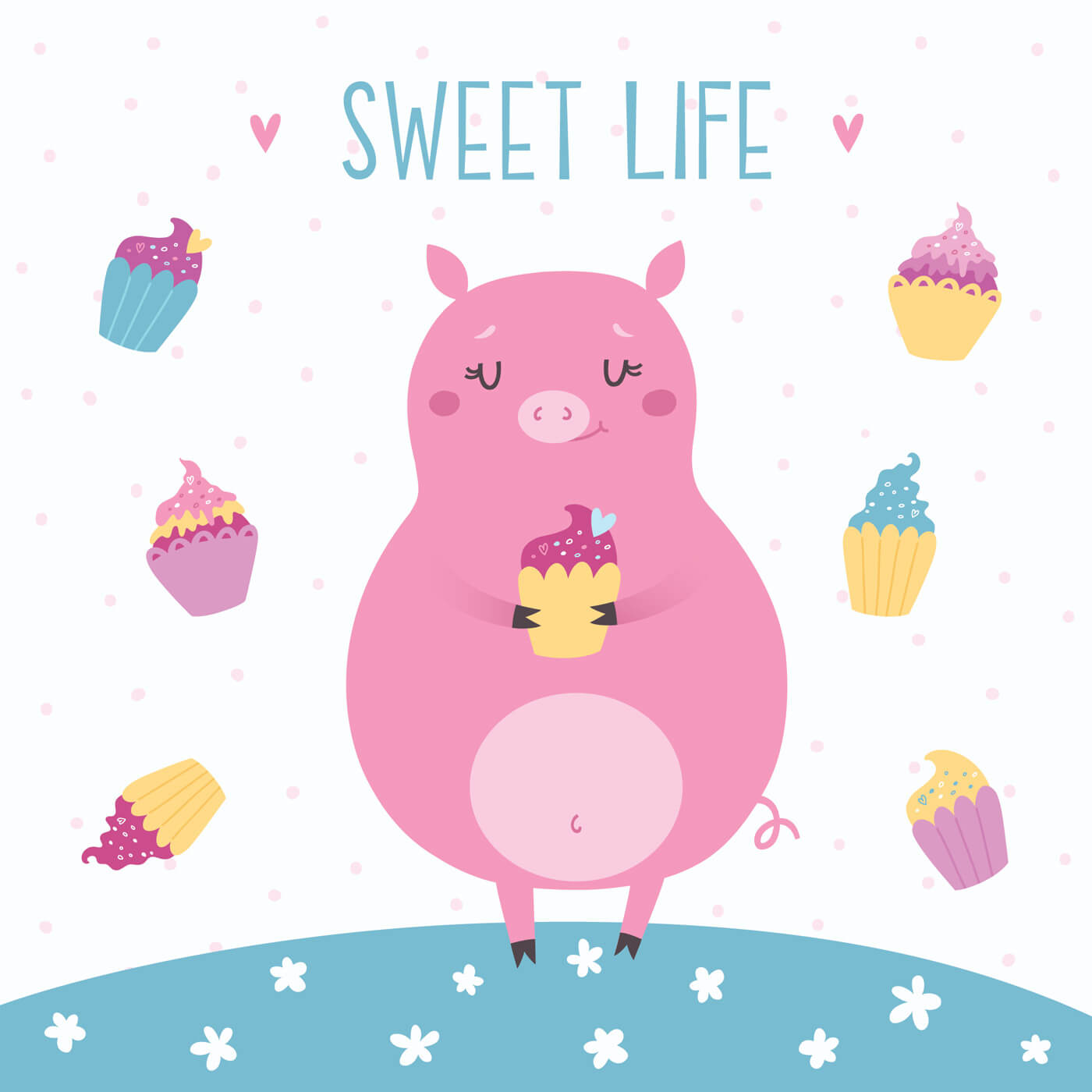 "Free vector ""Vector illustration of cute pig with cupcakes. Sweet life"""