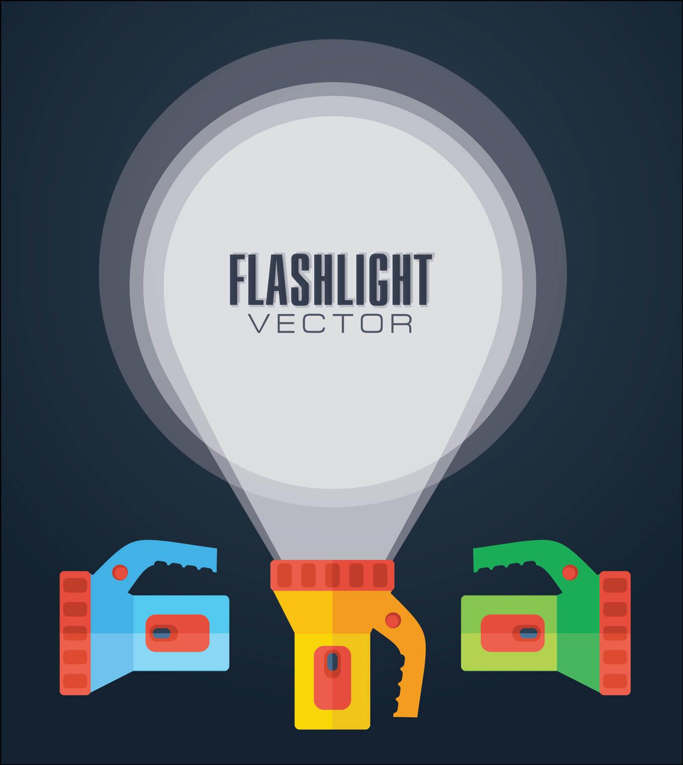 """Free vector """"Flat vector illustration flashlight."""""""