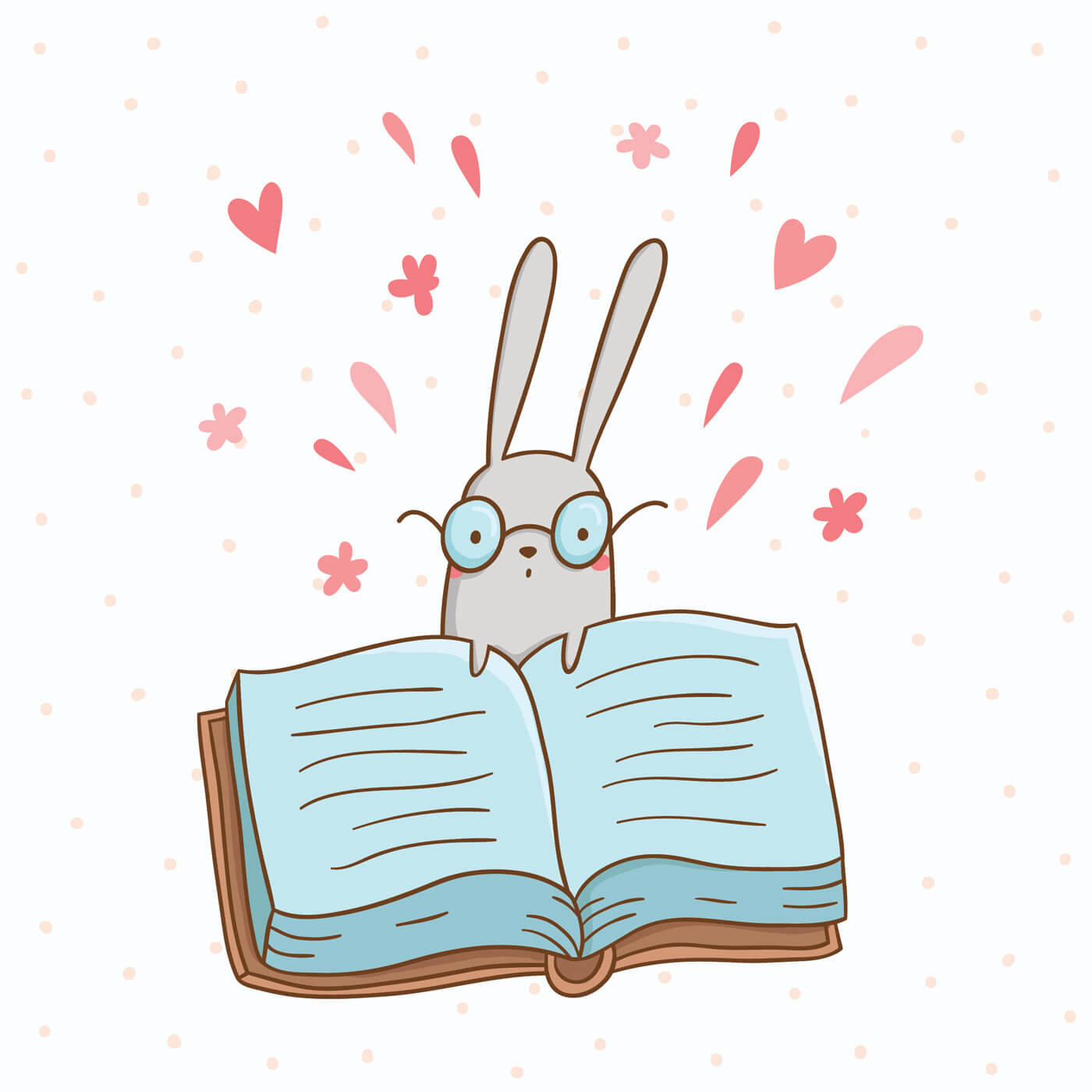 "Free vector ""Vector illustration of cute bunny and a big book"""