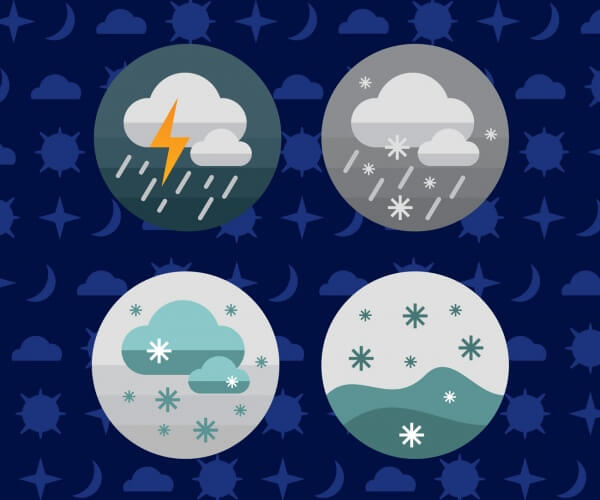 Weather icons. Vector illustration. vector